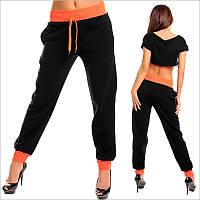 Женские теплые спортивные штаны черного цвета