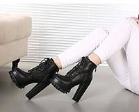 Стильные утепленные кожанные ботинки  2 цвета