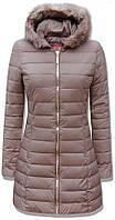 Женское зимние бежевое пальто, женская зимняя куртка