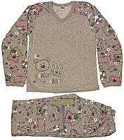 Пижама теплая для девочки, серая, со зверятами, рост 122/128 см, 128/134см, Фламинго