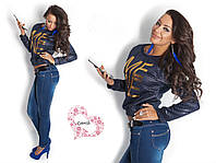 Кофта женская синяя ,синий женский свитер ,стеганная женская кофта ,блуза стеганная