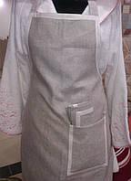 Фартук льняной серый с белым кантом