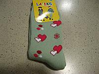 Детские махровые носочки для девочек, сердечки,  5- 11 Турция