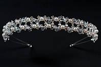 Свадебный ободок-диадема (38) с жемчугом и стеклярусом