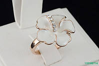 "Кольцо ""Цветок"" с кристаллами Stellux™ (Swarovski), покрытие золото"