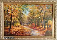 Осенний парк картина маслом.