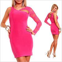 Розовое облегающее платье