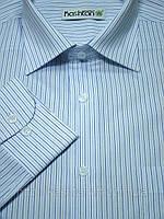Рубашка мужская классического силуэта Белая в тонкую синюю полоску