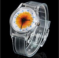 Кварцевые пластиковые женские наручные часы с круглым циферблатом, с рисунком подсолнуха на циферблате