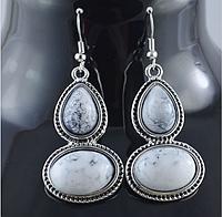Новинка! Хит продаж! Классические крупные милые серьги из тибетского серебра, цвет - серый мраморный