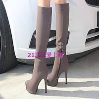Стильные сапоги  на каблуке -шпилька 2 цвета