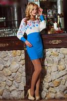 Платье масло короткое голубое