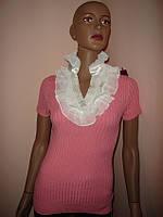 Блуза с жабо розовая