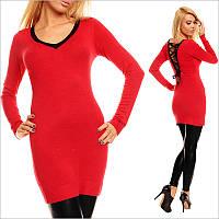 Красная туника - платье с V-образным вырезом