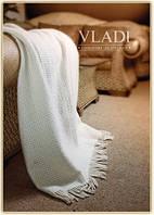 Плед шерстяной Vladi  Рогожка молочная двуспального размера.