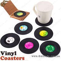 """Подставки под кружки и бокалы в виде граммпластинок - """"Vinyl Coasters"""" - 6 шт."""
