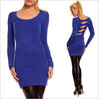 Синее платье-туника с округлым вырезом