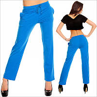 Синие прямые спортивные штаны женские