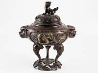 Фигурка из металла ваза с драконамии и львом на слонах