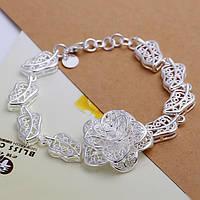 """Женский браслет Tiffany """"Роза"""", покрытие серебро 925"""