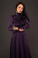 Шелковое длинное платье с жабо .Фиолетовый