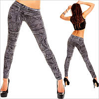 Женские леггинсы с джинсовым принтом
