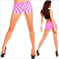 """Короткие розовые женские шорты с принтом - """"шахматы"""""""