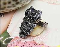 Модное кольцо Сова, цвет - серебро