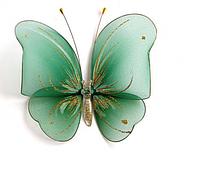 Декоративная бабочка большая для штор и тюлей  зеленая