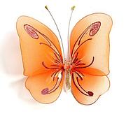 Декоративная большая бабочка для штор и тюлей  рыжая аксессуары