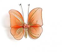 Декоративная бабочка маленькая для штор и тюлей аксессуары Морковная
