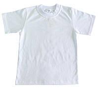 Белая футболка детская х/б на 4-8 лет