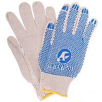 Перчатка хлопчатобумажная трикотажная с резиновым вкраплением с одной стороны (ПВХ синяя) Intertool SP-0134