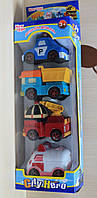 Робокар Поли Robocar Poli набор транспорта 4 шт. машинка 9,5см,  инерционная, в коробке, 13*40*7 см