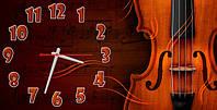 """Часы-картина """"Скрипка"""" 30х60 см оригинальный подарок для музыканта"""