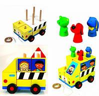 Машинка головоломка Kidi Wood 18103 Школьный автобус,Пожарная машина EUT /88-803