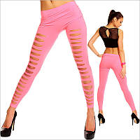 Розовые женские леггинсы с разрезами