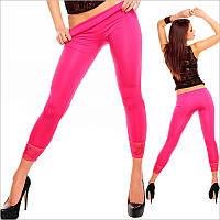 Ярко-розовые женские леггинсы c гипюром