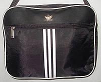 Мужская сумка Adidas A4 черный текстиль и вставка из эко-кожи