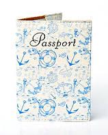"""Обложка на паспорт с красочным принтом """"Морская тематика"""""""