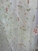Органза белая с цветами