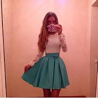 Платье женское белый верх юбка бирюза