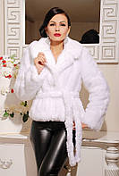 Шикарная, искусственная женская шубка под норку, Шаде белая