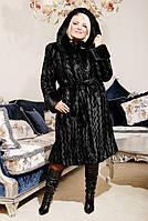 Шикарная женская шуба из искусственного меха, черная волна