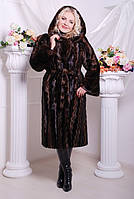 Женская длинная шуба из искусственного меха, коричневая волна