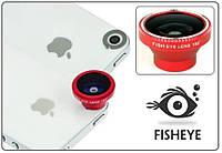 Объектив ФИШАЙ (магнит. крепление). ЛИНЗА FishEye 180° для смартфонов. Цвет: красный.