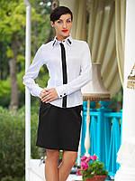 Рубашка женская Ледис д/р белая с черной планкой и вышивкой на воротнике строгая приталенная