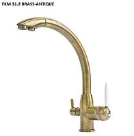 Комбинированный, одно-рычажный кухонный смеситель Fabiano FKM 31.2 античная бронза