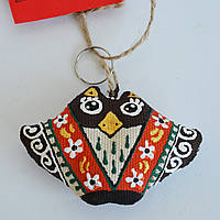 Брелок Сова в красном платке. Украинский сувенир.