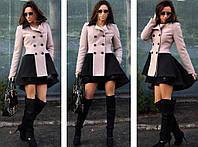 Пальто женское два цвет бежевий и чорний,нарядное весенние пальто, плащ женский на весну